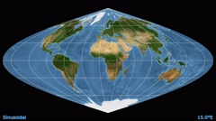 Animated world map in the Sinusoidal projection. Blue Marble raster. Stock Footage