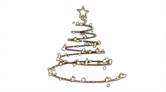 Rotating Christmas Tree Animation - Loop Golden - stock footage