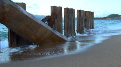 Waves breaking on concrete slabs. waves are emitted in the spray. Stock Footage
