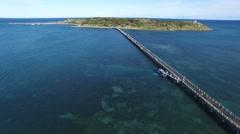 Granite Island Victor Harbor Lower Fly In Stock Footage