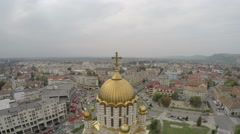 Great aerial view of the Cathedral of St. John the Baptist in Fagaras Stock Footage