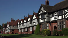 Arts and Crafts style houses in Port Sunlight, Wirral, England - stock footage
