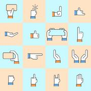 Vector modern thin line flat design of hands - stock illustration