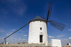 Windmills in Spain, La Mancha, famous Don Quijote location - stock photo