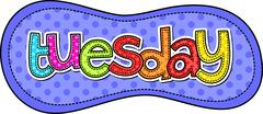 Tuesday Stitch Text Label - stock illustration