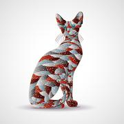 Abstract colorful cat. Stock Illustration