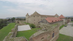 Aerial view of Fagaras Fortress's old towers Stock Footage