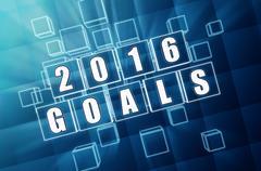 new year 2016 goals in blue glass blocks - stock illustration