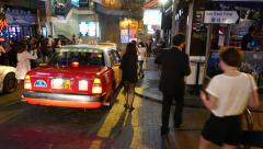 Stock Video Footage of Night city life at D'Aguilar Street, famous Lan Kwai Fong, bars and restaurants