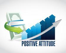 Positive attitude money graph sign concept Stock Illustration