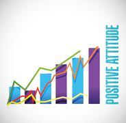 Positive attitude business graph sign concept - stock illustration