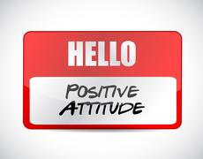 Positive attitude name tag sign concept - stock illustration