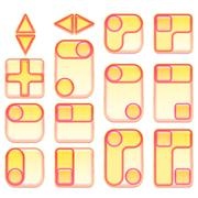 Stock Illustration of Pink and Yellow Buttons Set
