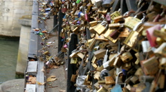 Lots of love locks on the brigde in Paris - stock footage