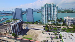 Aerial video Miami Beach waterfront Stock Footage