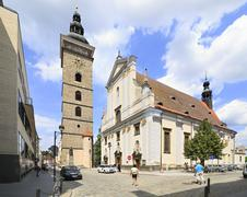 Black Tower and St. Nicholas Cathedral in Ceske Budejovice Stock Photos