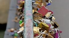 The lovelocks locked on the bridge in Paris Stock Footage