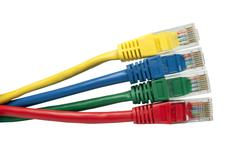 Set of four brightly multi coloured ethernet network cables Stock Photos
