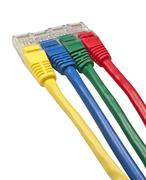Set of four brightly multi coloured ethernet network plugs Stock Photos