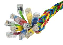 Closeup on bunch of multi coloured ethernet network cables Stock Photos
