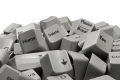 Batch of White Computer Keyboard keys Stock Photos