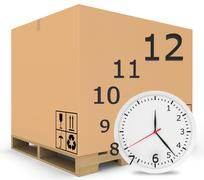 Paper covered boxes on wooden pallet. Watch with flying off figures - stock illustration