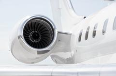 Jet Engine on a Private Plane - Bombardier Stock Photos