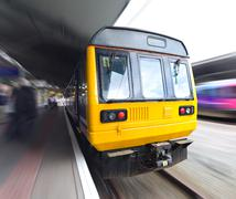 Old Commuter Train with Motion Blur Stock Photos