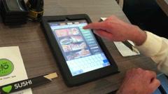 Man order food from digital menu top view Stock Footage