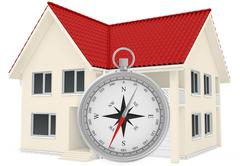 Stock Illustration of The house with red roof and compass in the foreground