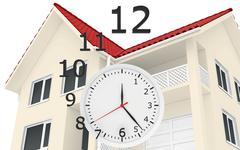 The house with red roof and clock numbers flying. Leaving time sale of real - stock illustration