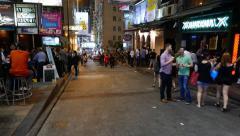 Night owls street, bar and restaurant, beerhouse alley, popular destination Stock Footage