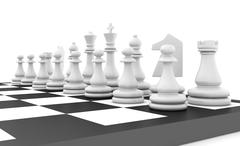 Chess pieces standing on black white chessboard Stock Illustration