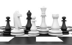 Chessmen stand on chessboard - stock illustration