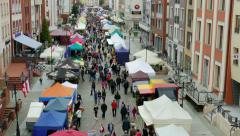 Street market at Bread festival. Elblag town, Poland Stock Footage