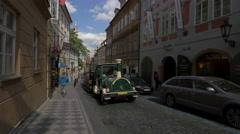 City tour train on Nerudova Street, Prague Stock Footage