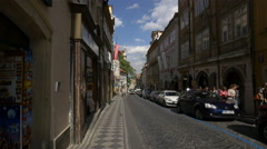 Nerudova Street with souvenir shops in Prague Stock Footage
