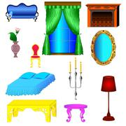 antique and modern furniture for bedroom and living room - stock illustration