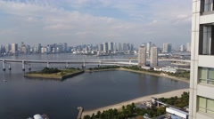 Stock Video Footage of Tokyo Skyline view from Odaiba