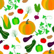Seamless pattern of vegetables Stock Illustration