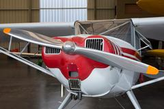 Beautiful small Airplane at the airport - propeller plane - stock photo
