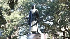 Statue of John Wesley in Savannah, Georgia historic district Stock Footage