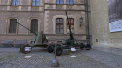 Cannons at Prague Castle Complex Stock Footage