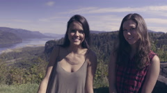 Happy Friends Sit Together At A Scenic Overlook In The Columbia River Gorge (4K) Stock Footage