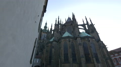 Beautiful view of St. Vitus Cathedral - the spiritual symbol of the Czech state Stock Footage
