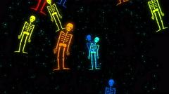 Color Halloween Skeleton Background Loop 4K 20 Stock Footage
