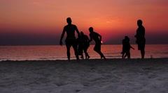Brasil Beach Football Sunset 4K - stock footage