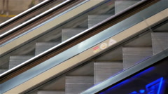 Two escalators going down fastly moving Stock Footage