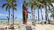 Stock Video Footage of Duke Kahanamoku Statue, Waikiki, Oahu