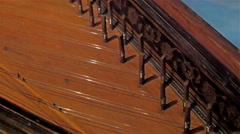 The old brown piano on the room Stock Footage